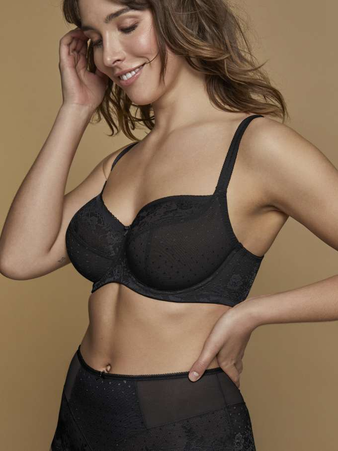Model wears Olivia in Black by panache lingerie